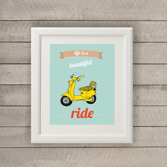 Life is a Beautiful Ride Vespa Scooter Art by BannerDesignShop