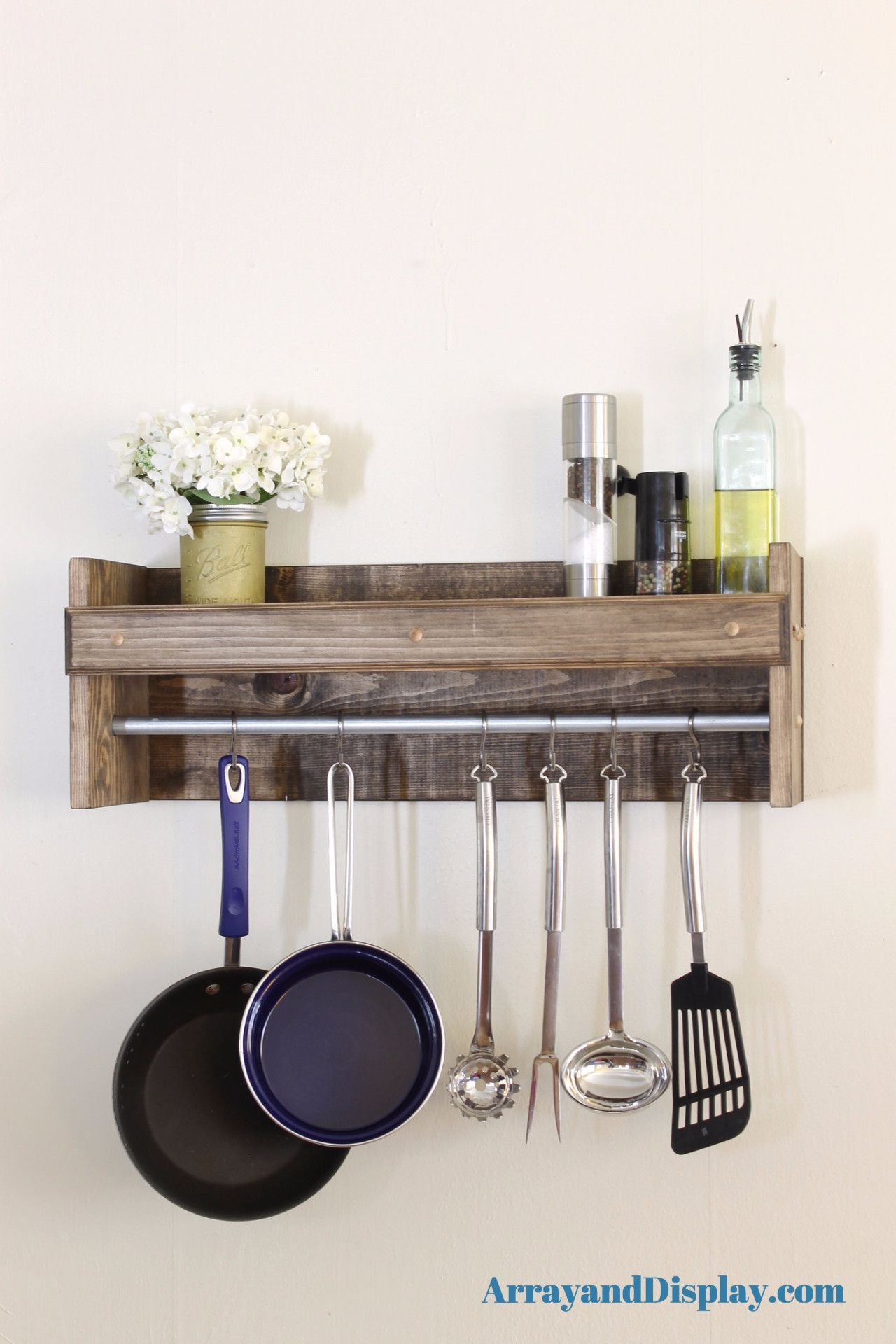 Space saving kitchen shelf pot rack made of solid wood. Shown here ...