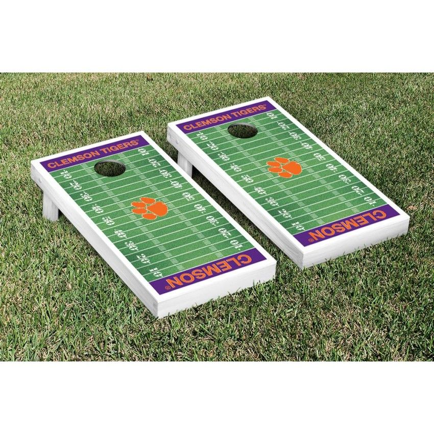 Clemson Tigers Cornhole Game Set Football Field Version From Tailgategiant Com Cornhole Game Sets Football Field Corn Hole Game