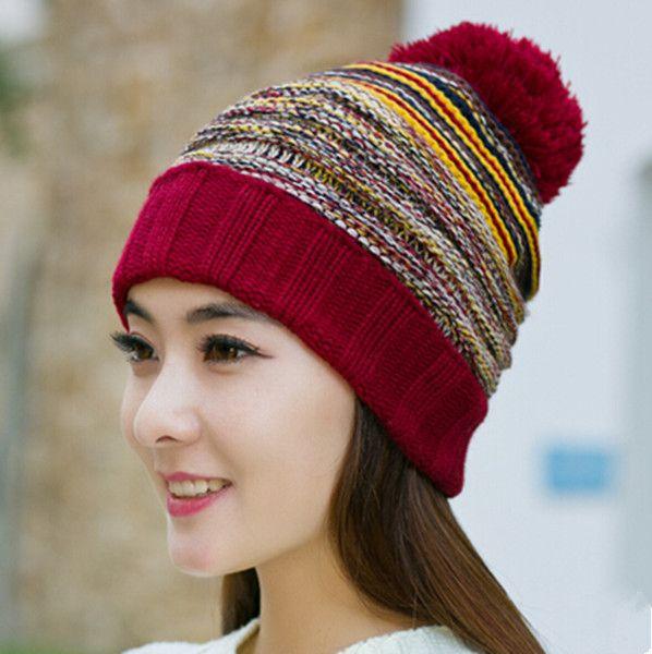Womens Knit Bobble Hat Warm Hairball Stocking Caps Winter Wear