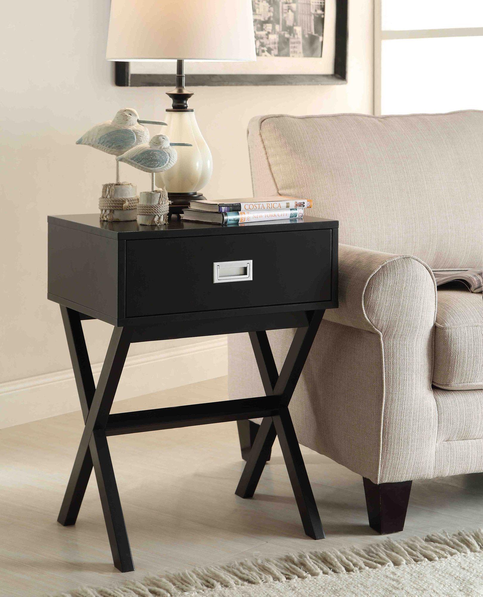 Best Kathleen 1 Drawer End Table Black End Tables Sofa End 400 x 300