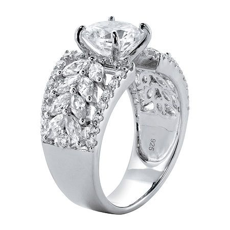 Diamonart Womens 4 Ct T W White Cubic Zirconia Platinum Over Silver Cocktail Ring Fashion Rings Cocktail Rings Photo Jewelry