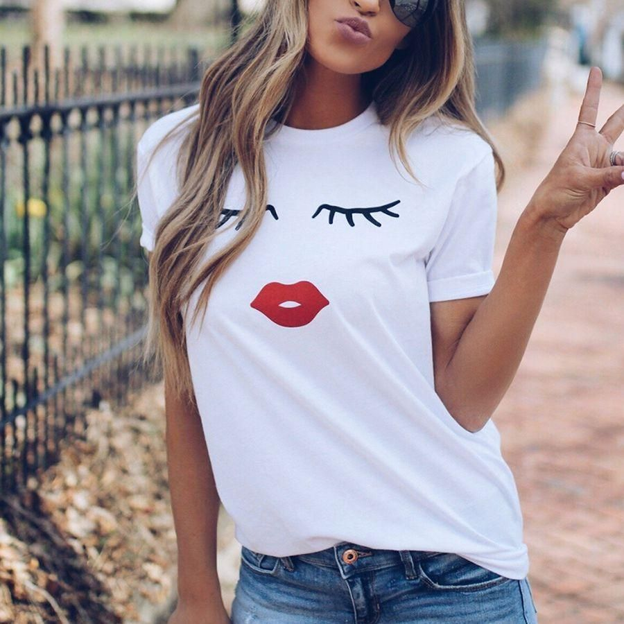 Pretty And Cute Eye Lashes Red Lips Print T Shirt In 2020 Lips