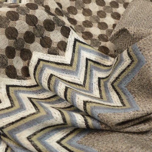 Zeebu - Exquisite chevron embroidery accents this narrow, wool muffler scarf with contemporary dots.