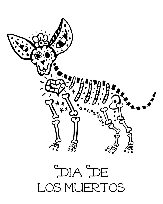 Free Printable Skeleton Dog Coloring Page Dayofthedead Diadelosmuertos Skeleton Skull Dog Mexicanart Dog Skeleton Dog Coloring Page Sugar Skull Drawing