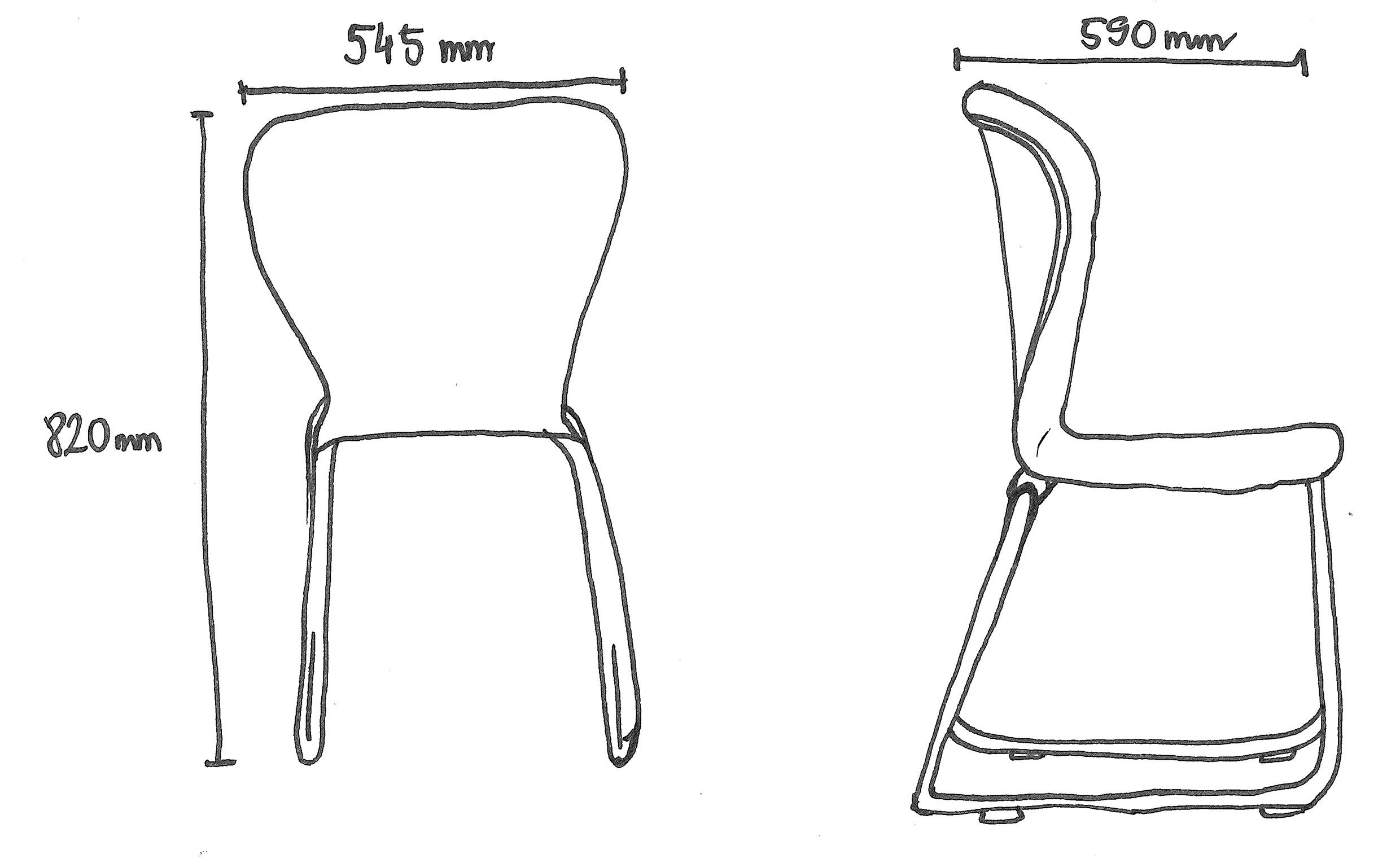 Chair Sketch With Measurements In Order To Assemble The Chair That Consists Of A Plastic Seat With Ergonomic Shape And A Me Metal Structure Ergonomics Chair
