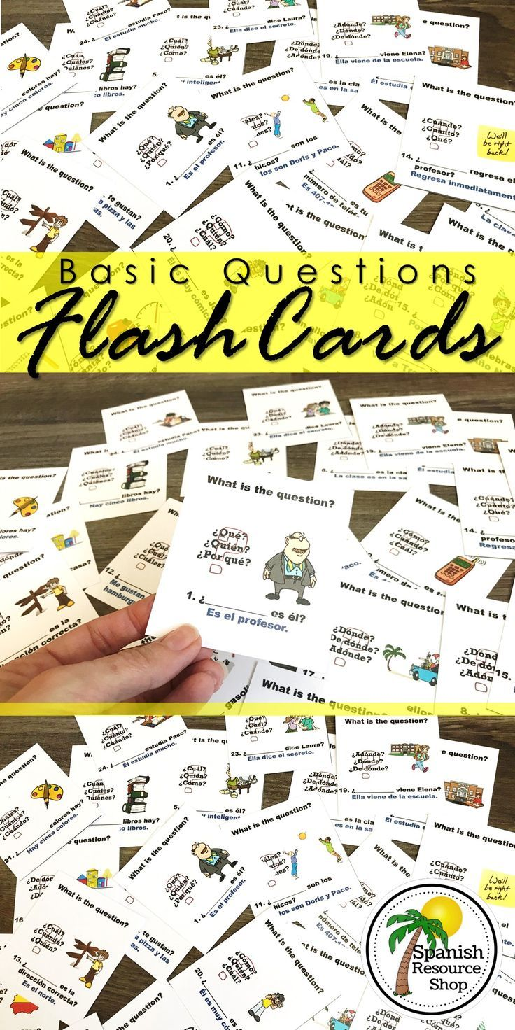 Spanish Question Words Flashcards Basic With Images Spanish Question Words Spanish Learning Activities Spanish Questions