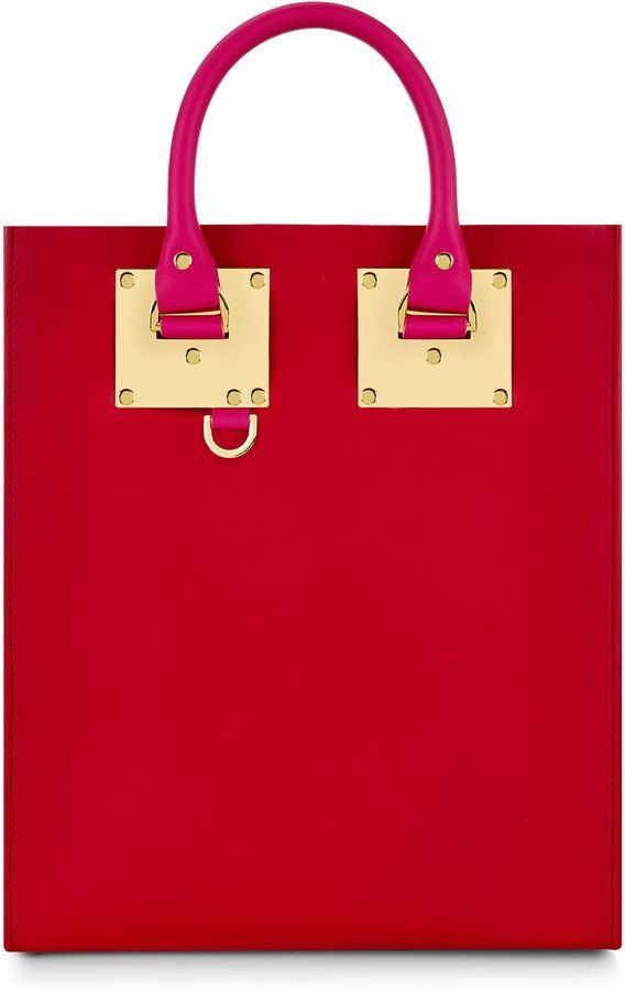 Sophie Hulme Colorblock Mini Tote Bag, Fuchsia/Red