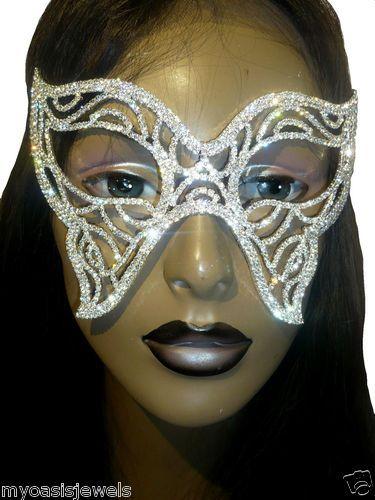 Rhinestone Austrian Crystal Mask Masquerade Bridal Costume Fetish Party Play