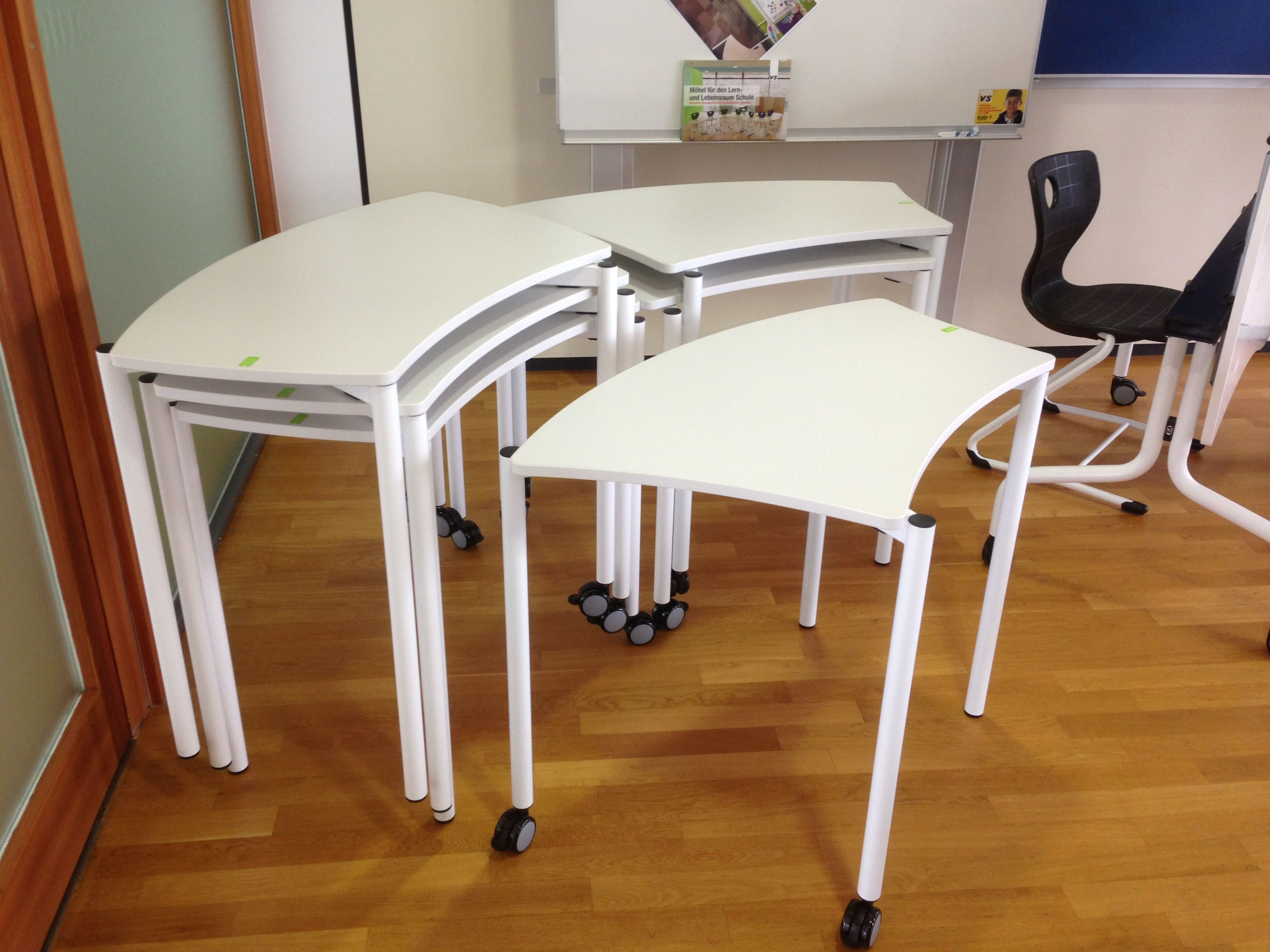 VS Cultural Shift   Thumbprint Student Desks  They Stack, They Are Easy To  Move