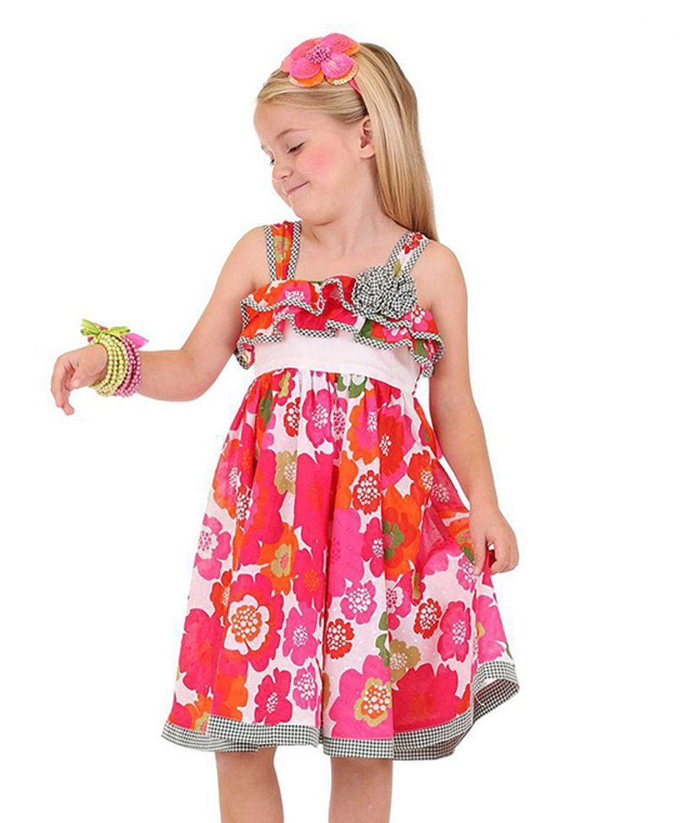 This Orange & Pink Floral Dress - Toddler & Girls by Bonny Billy is ...