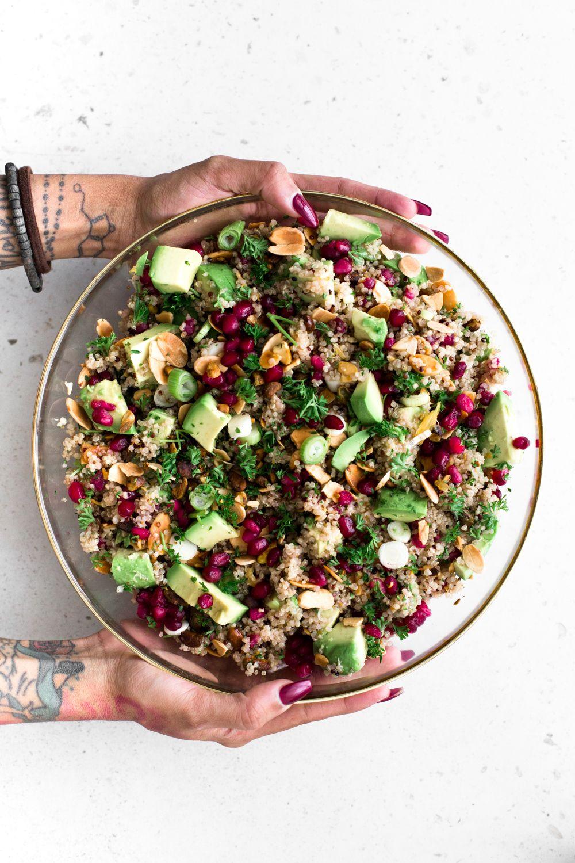 Vegan Quinoa Crunch Salad With Pomegranate Crazy Vegan Kitchen Recipe Vegan Quinoa Salad Vegan Quinoa Vegan Kitchen