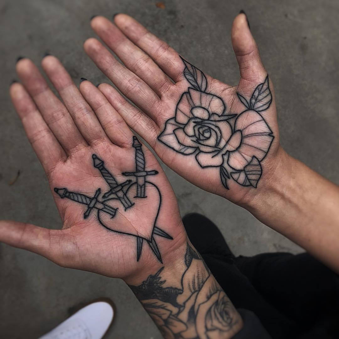 Grunge Tattoos Palm Tattoos Hand Palm Tattoos Hand Tattoos