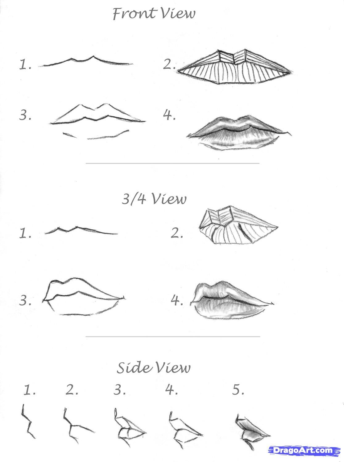 How To Draw Realistic Lips, Sketch Lips Step 6