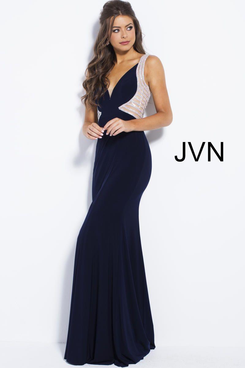 2ebb9a329c  Jovani  JVNCollection  JVNProm2019  Navy  Fitted  VNeck  Embellished   GirliGirlBoutique