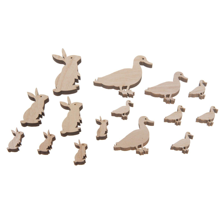 Set van 16 houten figuurtjes in de vorm van eenden en konijnen ...
