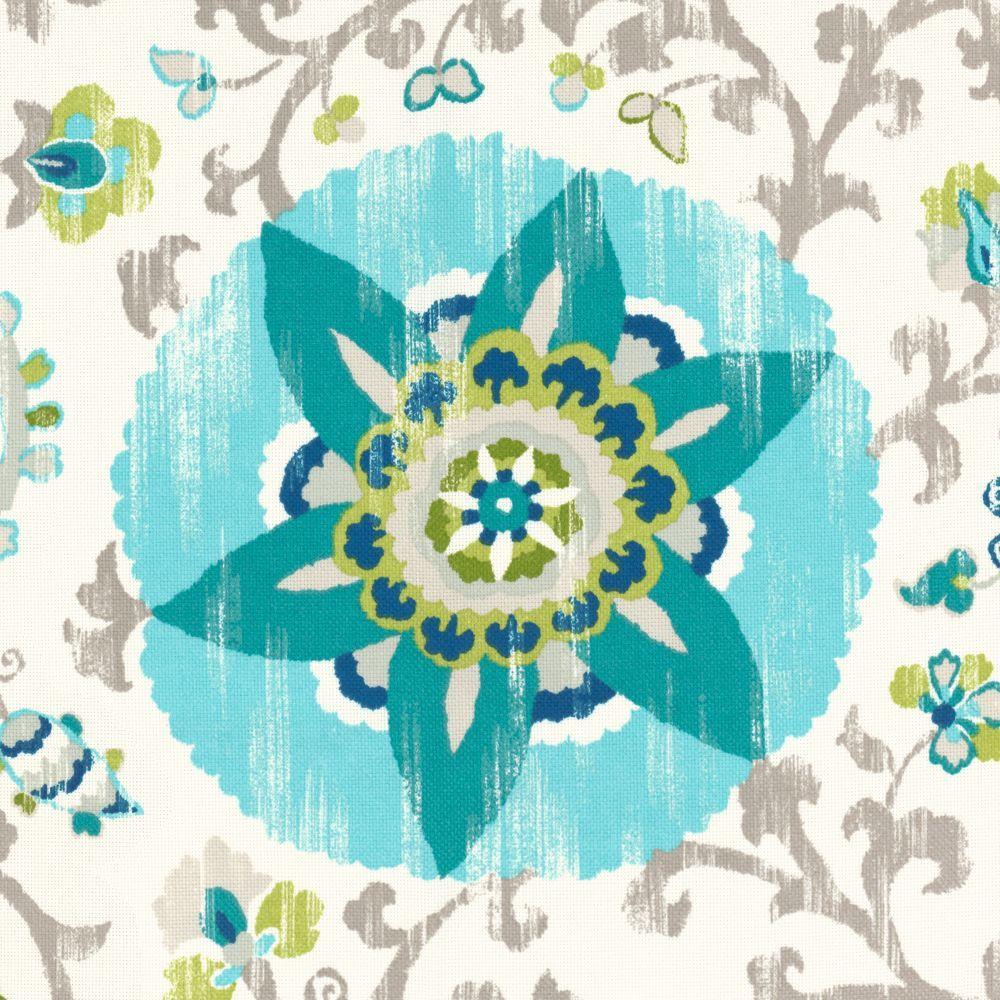 Aqua Suzani Indoor Outdoor Fabric | Sunzani : Aqua | Loom Decor ...