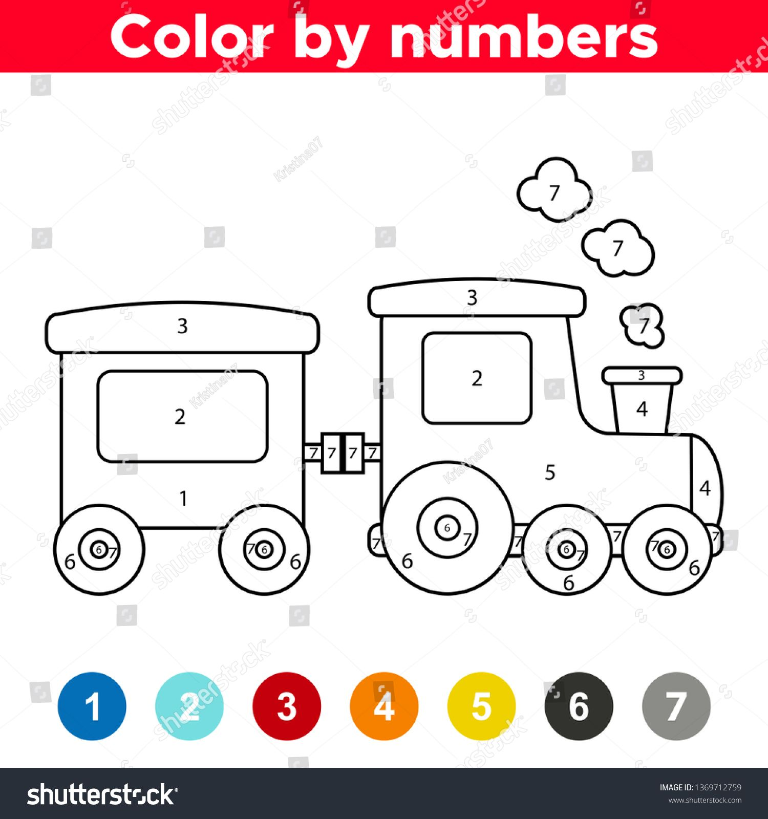 Educational Game For Preschool Kids Coloring By Numbers Vector Cartoon Train Ad Affi Educational Games For Preschoolers Preschool Games Educational Games