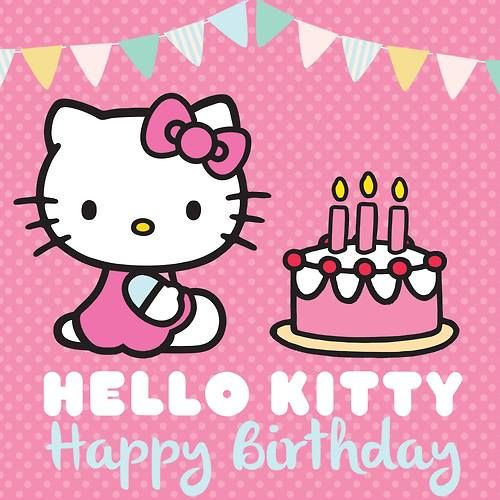 Hello Kitty Happy Birthday Pic Hk With A Birthday Cake With 3