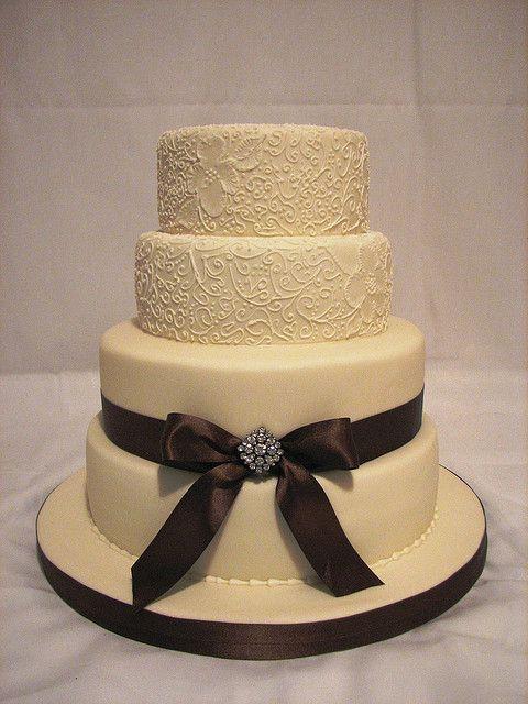 ivory and brown wedding cake   Brown wedding cakes, Square wedding ...