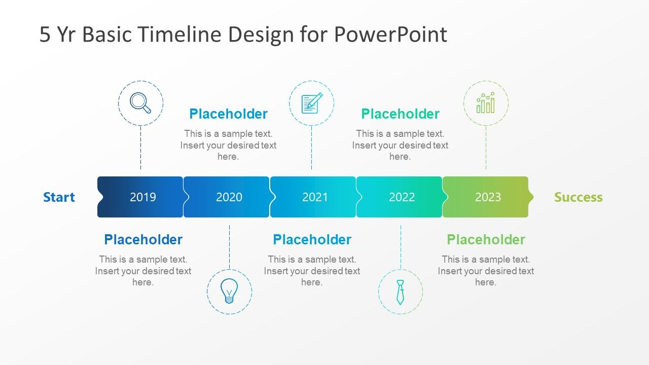5 year basic timeline powerpoint template slidemodel free templates design