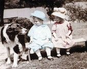 Bonnet Girl and BOy w Dog tinted Fine Art vintage photograph