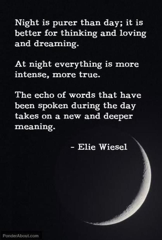 Night is purer than day; it is better for thinking and loving and dreaming Elie Wiesel