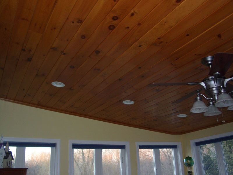 Sunroom Knotty Pine The Ceiling Looks Good With White