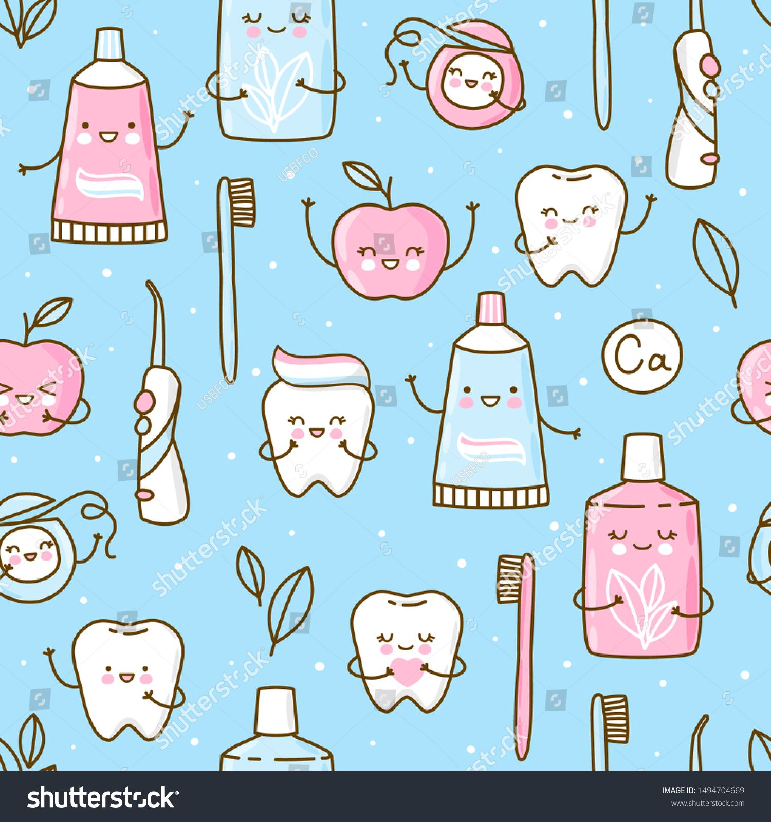 Seamless Pattern With Cute Teeth And Objects For Dental Care On Blue Background Funny Toothpaste Brush Apple Irrigator Dental Fl Graficheskij Dizajn Dizajn