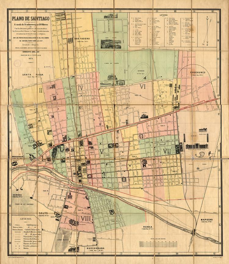 Plano De Santiago Benjamin Vicuna Mackenna Historical Maps Map Santiago