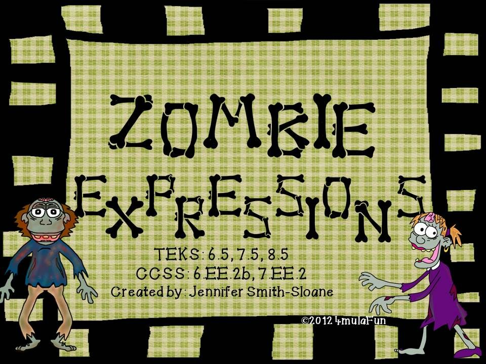 Zombie Expressions- Aligned for 6th through 8th Grade- Match written ...