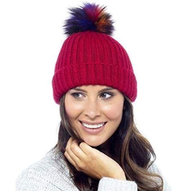 ab256d46efc Foxbury Ladies Rib Knit Hat with Multicoloured Bobble Red  hats  menshats   Menswear