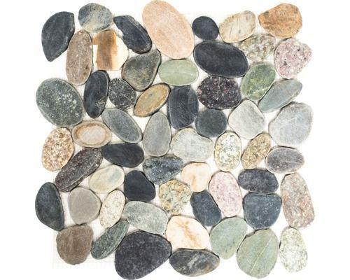 Natuursteen mozaïek kiezel xks geel grijs groen mix