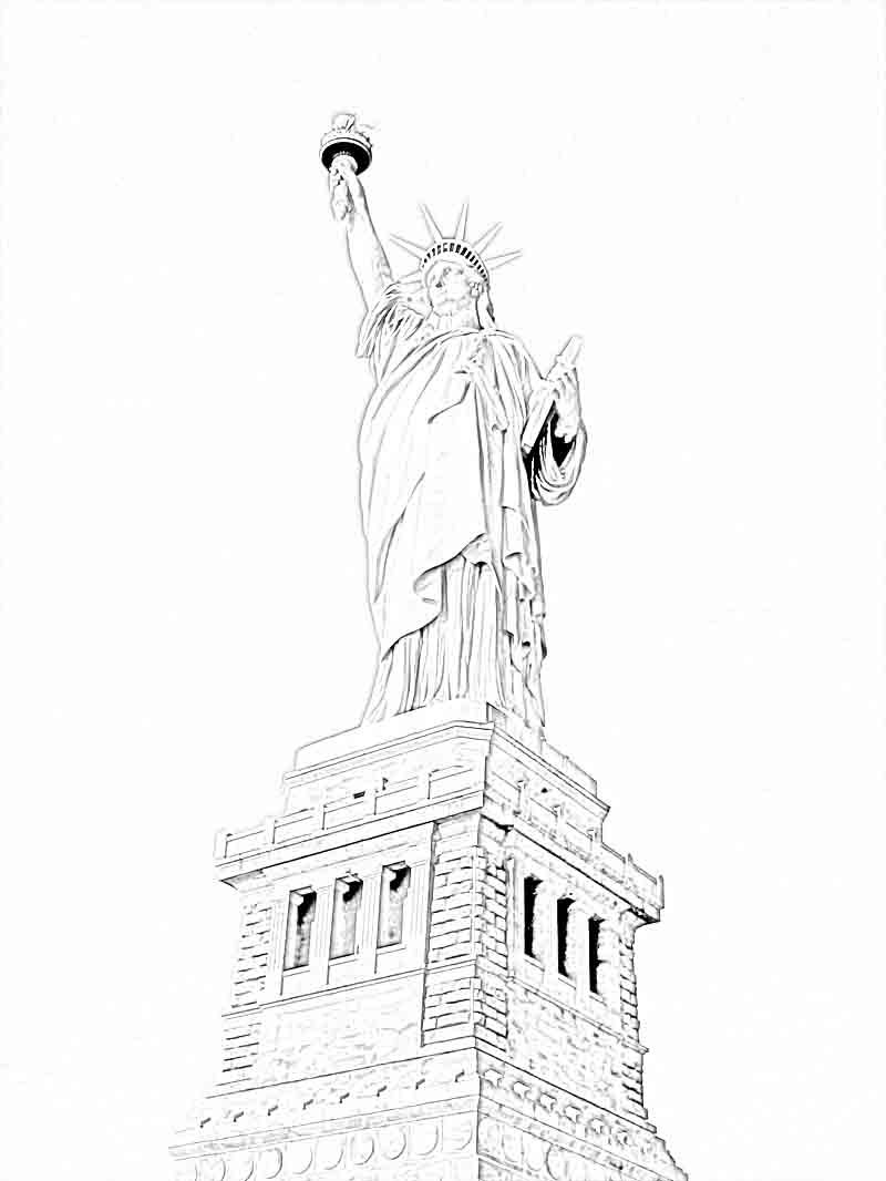 Free Printable Statue Of Liberty Coloring Pages For Kids Flag