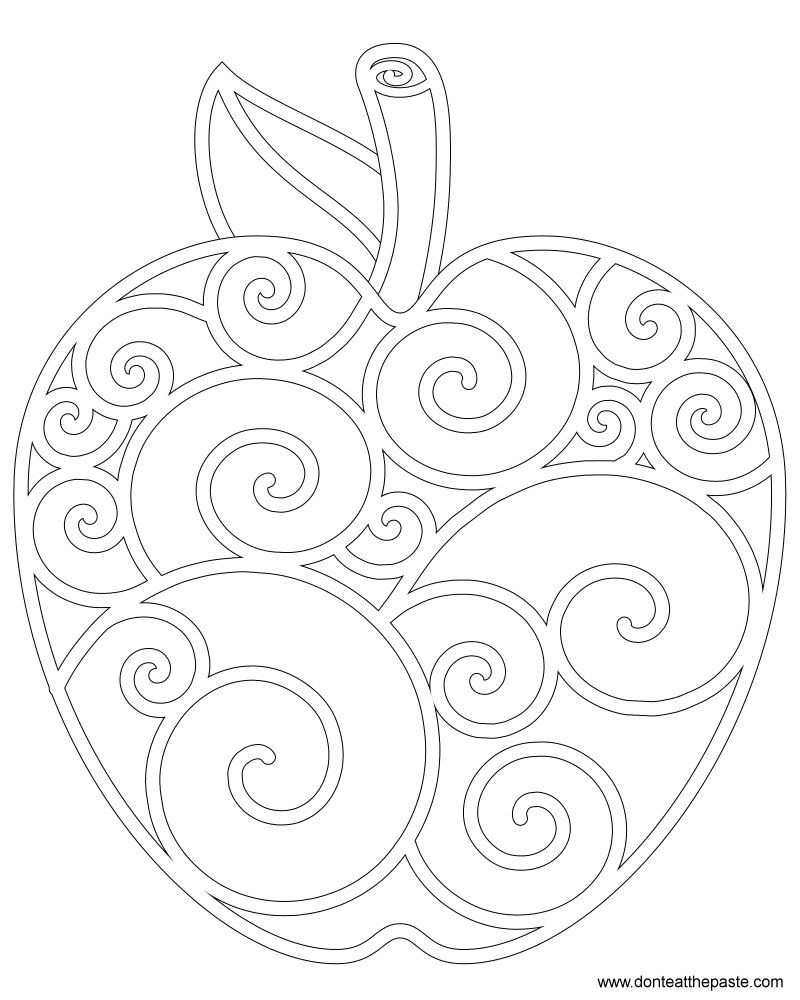 Apple coloring page plott pinterest apples zentangle and
