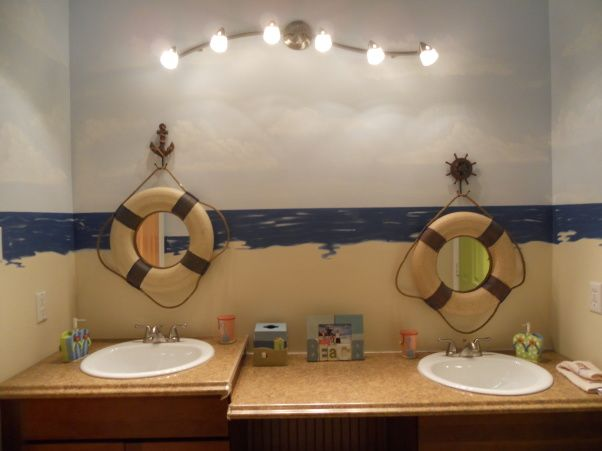 I Think Our Lighthouse Bathroom Would Look Good With This Addition Kids Bathroom Design Beach Theme Bathroom Bathroom Themes