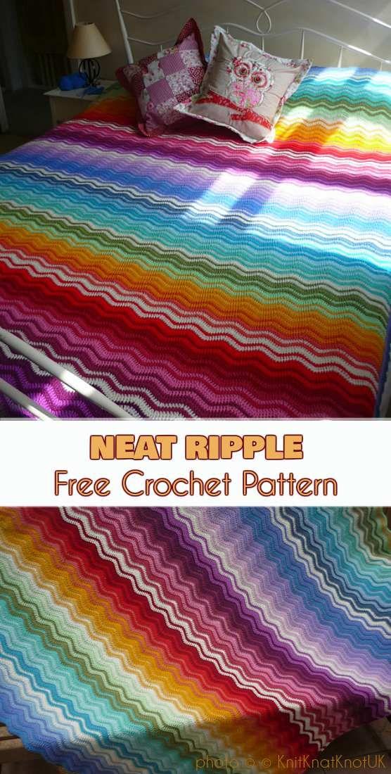 Neat Ripple Blanket Free Pattern | Decken, Häkeln und Anleitungen