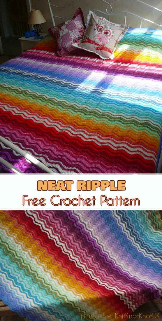 Neat Ripple Blanket Free Pattern | Häkeln | Pinterest | Crochet ...