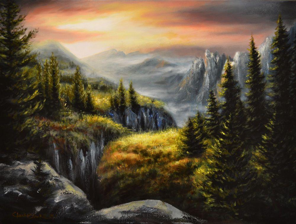 Original Landscape Art Painting Mountain Scene Signed By Artist Chuck Black Interiordesign Art Originalart Rusticdecor Homedecor Mountains Chuckblack