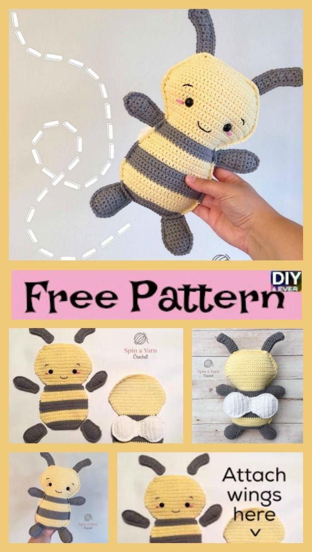 CROCHET PATTERN: Amigurumi Bee, Crochet Beehive, Amigurumi Doll ... | 1240x700