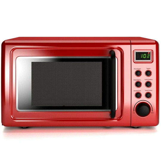 700w Glass Turntable Retro Countertop Microwave Oven Red Health
