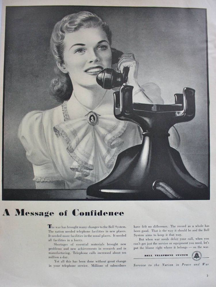 1940s bell telephone pretty woman on black dial telephone vintage print ad belltelephone