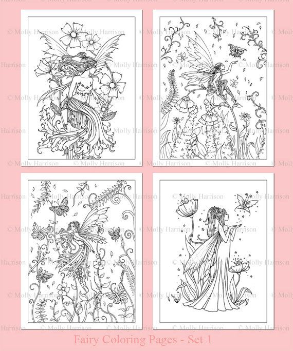PRINTABLE - Flower Fairies Coloring Pages Set 1 - 4 Flower Fairy ...