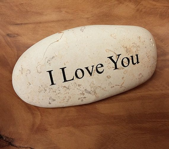 Engraved  Beach Pebble Message Stone - I Love You