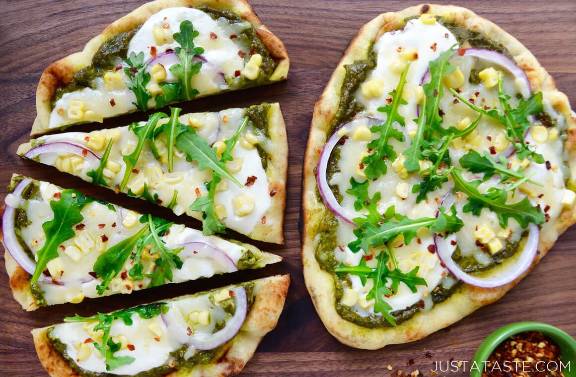 Grilled Flatbread Pizzas with Avocado Pesto Photo