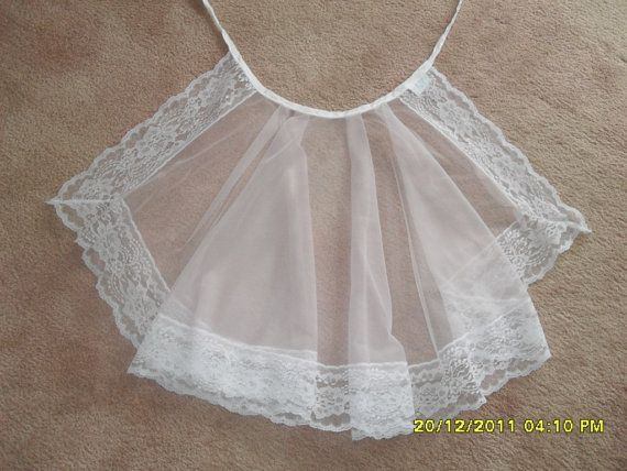 Vintage 70s Pale Pink Sheer Lace trimmed Apron by MimisMenagerie