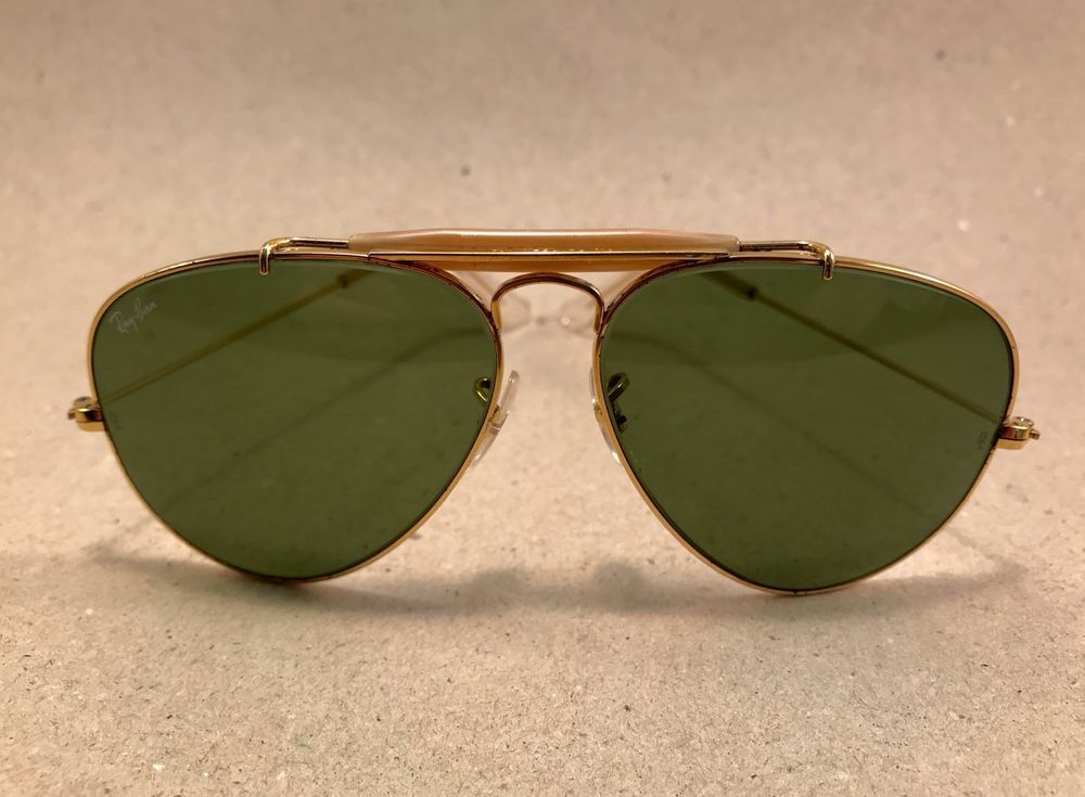 db818fb75c  Vintage Ray Ban Large Metal RB3 green Arista 58    14 B L Bausch Lomb