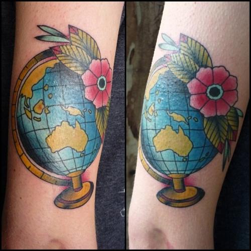 Globe tattoo done by jon at wild at heart tattoo in for Wild at heart tattoo