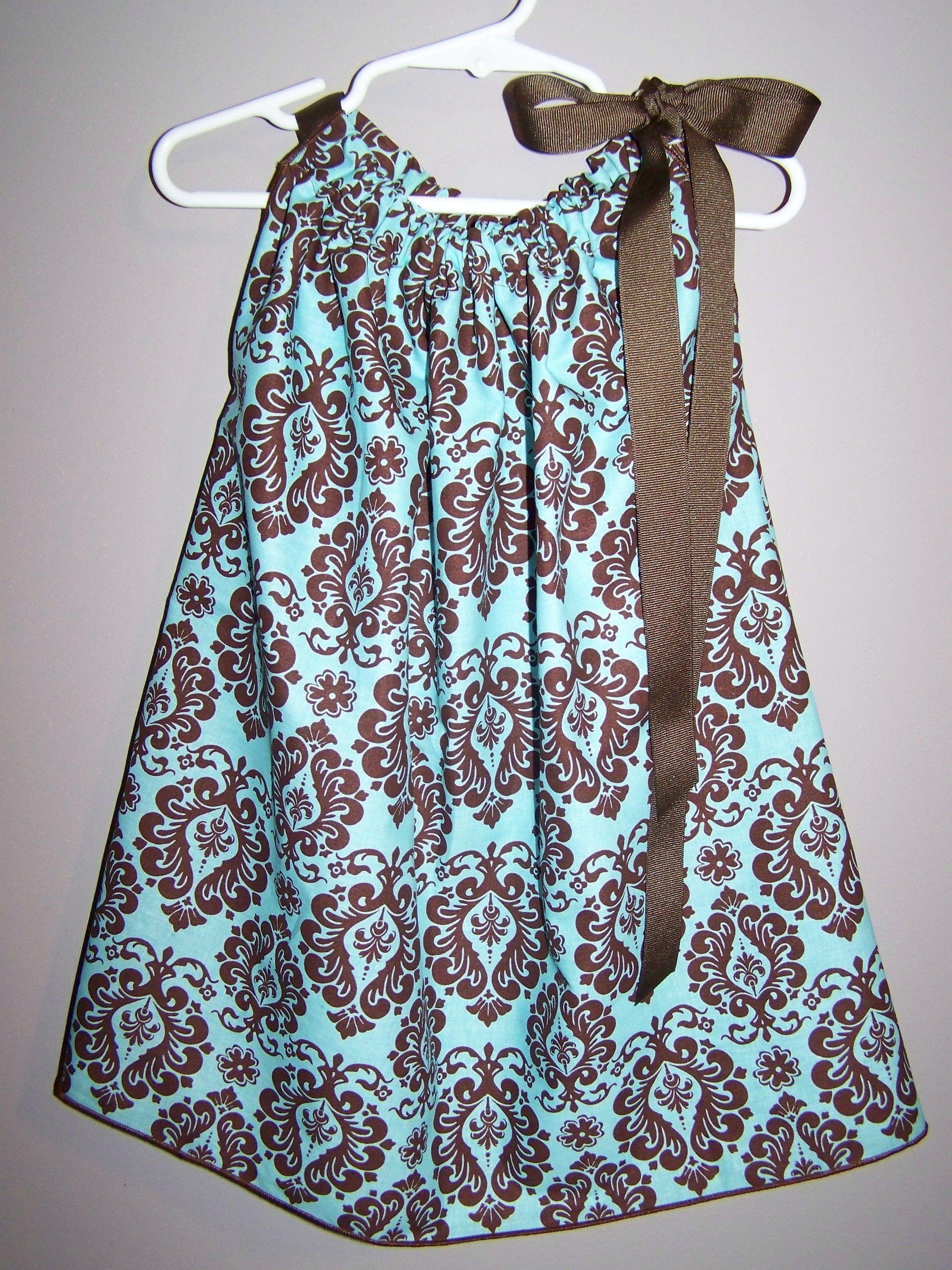 Brown/Blue Damask Bandana Pillowcase Style Dress/Shirt