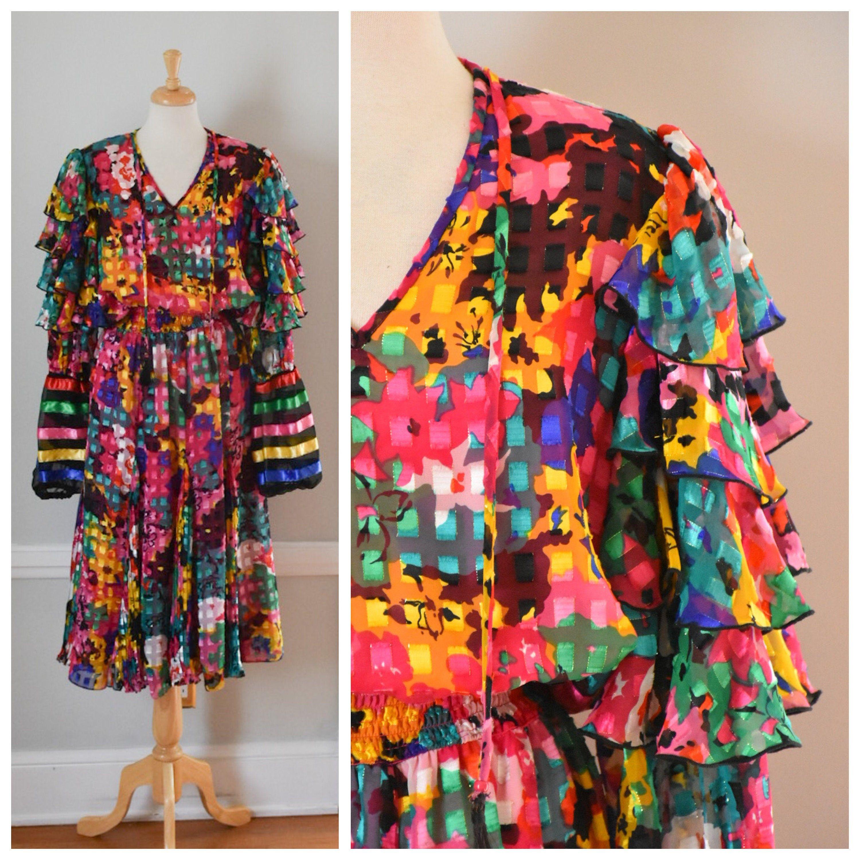 Vintage 80s Boho Dress Etsy In 2020 Vintage Boho Dress Boho Dress Vintage Clothing Online